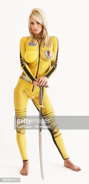 Undated photos of Model Rhian Sugden who has been body painted to celebrate Uma Thurman's look in the Tarantino movies Kill Bill Volumes 1 2 which is...