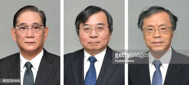 Undated photos show Shigeru Toyama the new ambassador to the Solomon Islands Hideaki Harada the new ambassador to Namibia and Shinichi Nakatsugawa...
