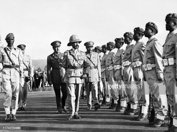 Undated picture of Emperor of Ethiopia Haile Selassie the last Emperor of Ethiopia reviewing troops in Addis Ababa Haile Selassie led the revolution...