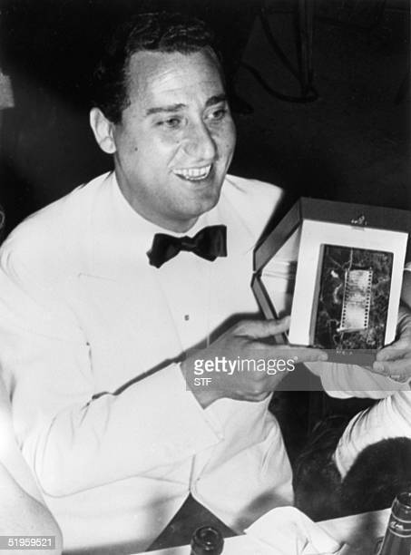 Undated picture of famous Italian actor Alberto Sordi after he was awarded a prize. Alberto Sordi, who began his film career dubbing Oliver Hardy's...