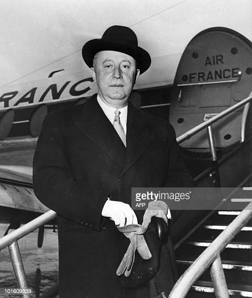 Undated picture of French designer Christian Dior in front of an Air France plane before leaving Paris to Copenhagen Born 21 January 1905 in...