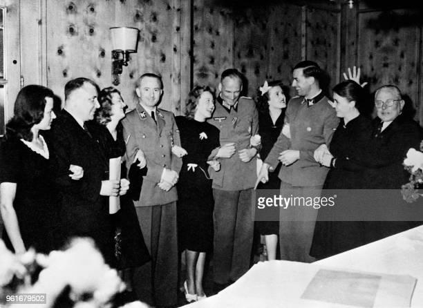 Undated picture of Nazi officers of the NSDAP psong with Eva Braun's family and friends Eva Braun's best friend Herta Schneider Reichsleiter Martin...