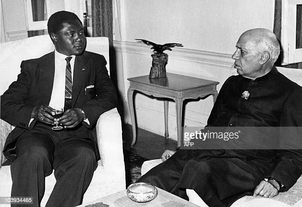 Undated picture of People's Congress Party of kenya leader Tom Mboya meeting Indian Prime Minister Pandit Jawaharlal Nehru to discuss the release of...