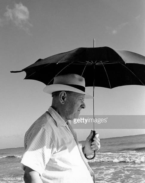 Undated picture of Spanish conductor cellist and composer Pablo Casals at seaside