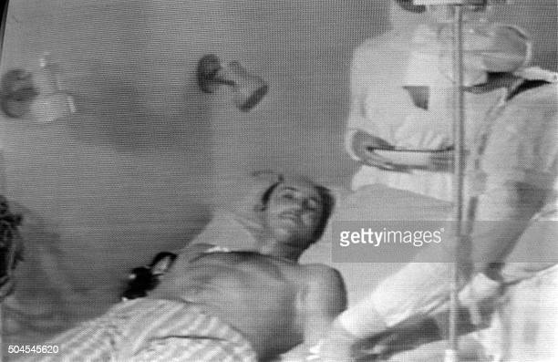 Undated picture sent by Soviet television of a man injured in the blast of No. 4 reactor of Ukrainian Chernobyl nuclear plant, the world's worst...