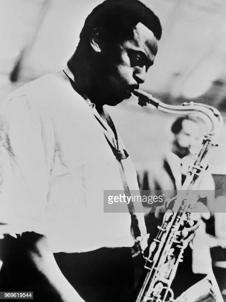 Undated picture showing American jazz composer and saxophonist Wayne Shorter during a concert