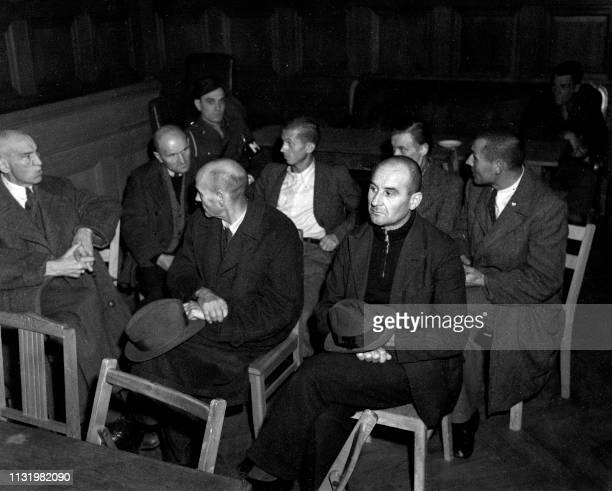 Undated picture showing direction and medical members of the Hadamar's psychiatric clinic accused in the Belsen's trial dedicated to nazi program of...