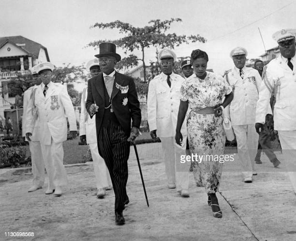 Undated picture showing Liberian President William Tubman and his wife Antoinette on their way for the Independence Day celebration.