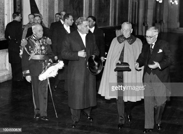 Undated picture showing Portuguese Head of government Antonio Salazar along with Portuguese President Oscar Carmona President of the National...