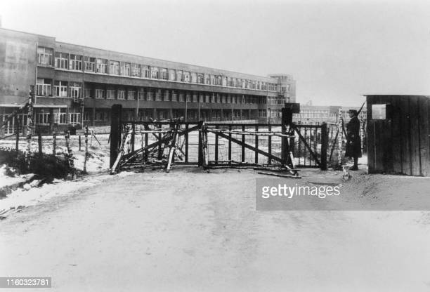 Undated picture showing the entrance and the building of Aincourt concentration camp with a french gendarme French members of the resistance were...