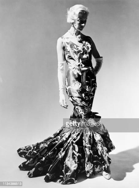 Undated picture taken at Paris showing a model of French couturier Pierre Balmain as part of his Spring-Summer collection.