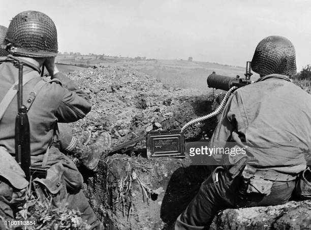 Undated picture taken in Netherlands showing American soldiers with a machine gun during the Allieds offensive in these area towards Germany