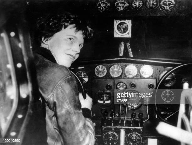 Undated picture taken in the 30' s of American female aviator Amelia Earhart beeing at the controls of her plane Amelia Earhart was the first woman...