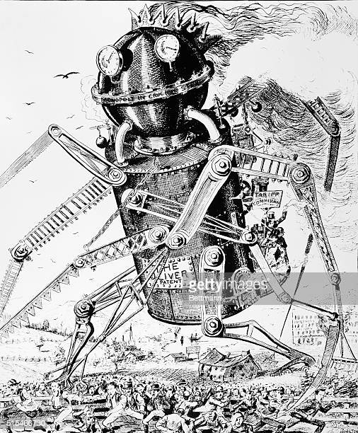 Undated political cartoon showing the Oliver Patent Monopoly in Crucible Steel as a giant steam driven robot rampaging through a scattering crowd of...