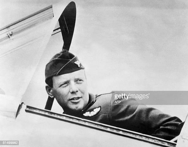 Undated portrait of Charles Lindbergh dressed in his US Air Force uniform as he sat in a plane Born in 1902 Lindbergh made the first solo nonstop...