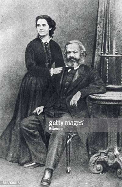 Undated portrait of Karl Marx born May 5 with his oldest daughter Jenny