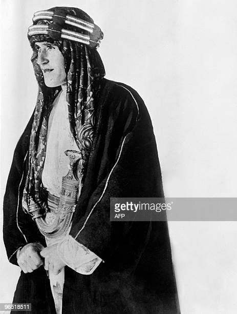Undated portrait of Sir Thomas Edward Lawrence known as Lawrence of Arabia in traditional arab costume Sir Thomas Edward Lawrence gained...