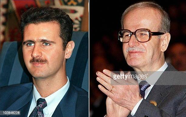 Undated recent combo shows Syrian President Hafez alAssad and his heir apparent Bashar who is to be tapped for a key government post after a...