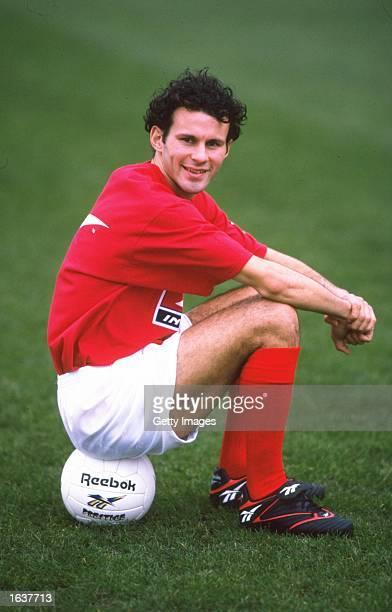 Ryan Giggs of Wales sits on a ball. \ Mandatory Credit: Allsport UK /Allsport