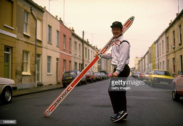 Ski Jumper Eddie Edwards of Great Britain poses for the camera during a feature in his home town of Cheltenham England Mandatory Credit Allsport UK...