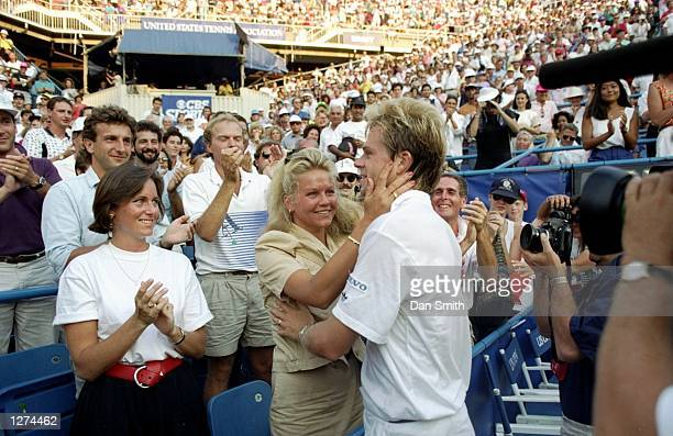 Stefan Edberg of Sweden is congratulated by Annette Olson after a match Mandatory Credit Dan Smith/Allsport