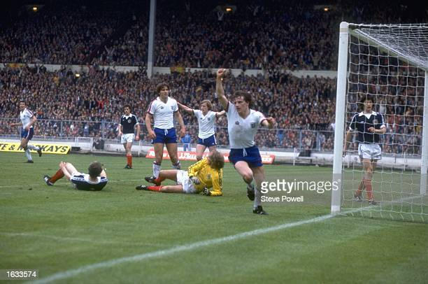 Steve Coppell of England celebrates after scoring a goal during a match against Scotland at Wembley Stadium in London Mandatory Credit Steve...