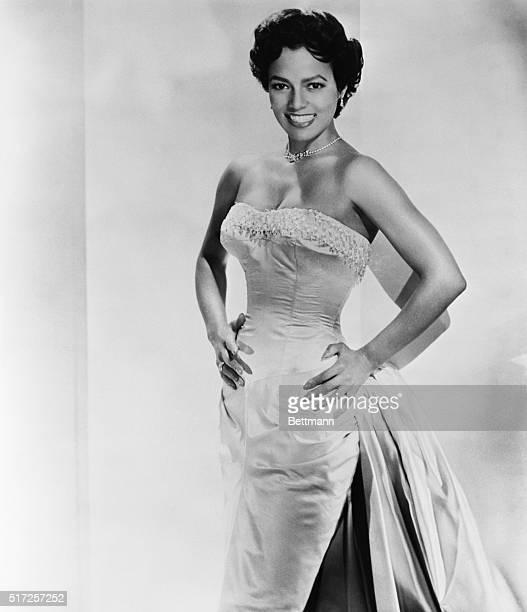 Undated studio publicity handout of singer/actress Dorothy Dandridge in evening gown