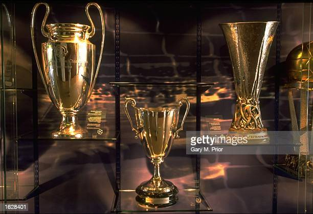 The European Cup the European Cup Winners Cup and the UEFA Cup trophies are displayed in a cabinet at UEFA Headquarters in Nyon, Switzerland. \...