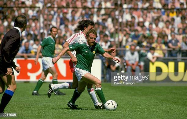 Tony Grealish of the Republic of Ireland in action during a World Cup qualifying match against Switzerland in the Republic of Ireland The Republic of...