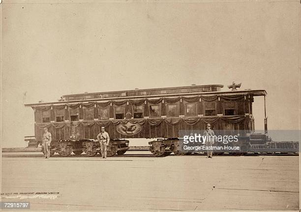 Undated view of the railroad car built to transport the body of assassinated American President Abraham Lincoln from Washington DC to his funeral in...