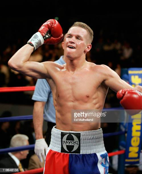 Undefeated featherweight Jason Litzau poses after knocking out Carlos Contreras in 6th round The bout took place on the undercard of the Arturo Gatti...