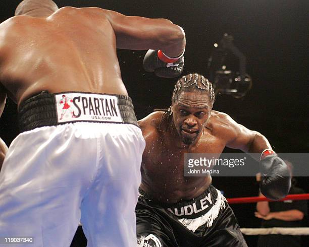 Undefeated heavyweight Audley Harrison in action during his defeat of Robert Wiggins at the 'Best Damn Night Of Olympians Period' boxing event at HP...