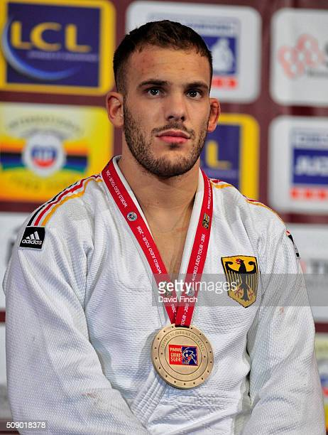 Under 100kg bronze medallist KarlRichard Frey of Germany during the medal ceremony at the Paris Grand Slam Sunday 7 February 2016 at the AccorHotels...