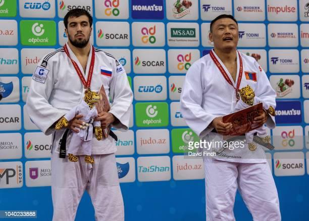 Under 100kg bronze medallists LR Niyaz Ilyasov of Russia and Otgonbaatar Lkhagvasuren of Mongolia during day six of the 2018 Judo World Championships...