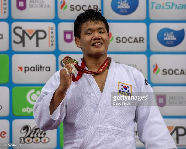 Under 100kg gold medallist Guham Cho of South Korea during day six of the 2018 Judo World Championships at the National Gymnastics Arena on September...