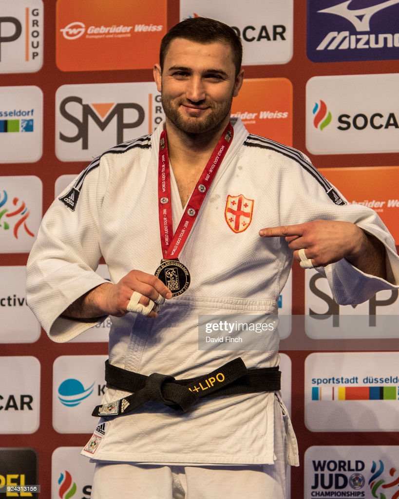 Under 100kg gold medallist, Varlam Liparteliani of Georgia proudly points to his Georgian badge during the 2018 Dusseldorf Grand Slam (23-25 February) at the ISS Dome on February 25, 2018 in Dusseldorf, Germany.