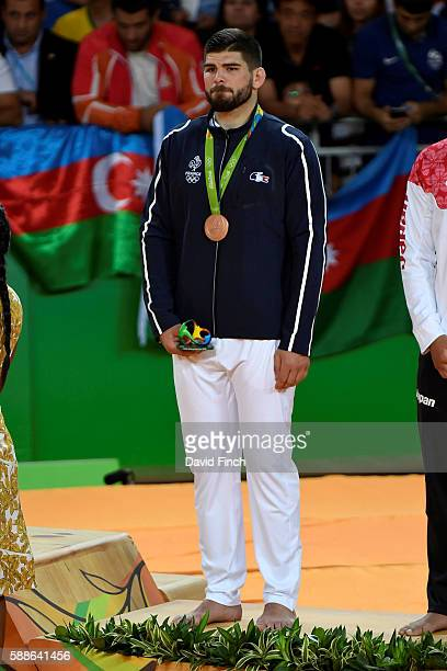 Under 100kg judo bronze medallist Cyrille Maret of France during the medal ceremony at the 2016 Rio Olympics on August 11 2016 held at the Carioca...