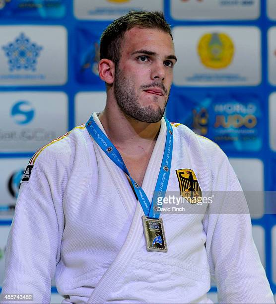 Under 100kg medallist KarlRichard Frey GER during the 2015 Astana World Judo Championships on day 6 at the Alau Ice Palace on August 29 2015 in...
