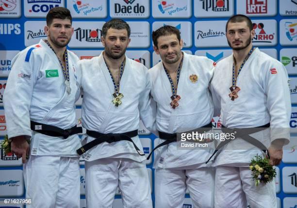 Under 100kg medallists LR Silver Cyrille Maret Gold Elkhan Mammadov Bronzes Kirill Denisov and Kazbek Zankishiev during the 2017 Warsaw European Judo...