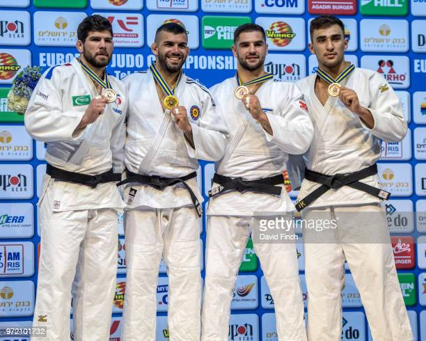 Under 100kg medallists LR Silver Cyrille Maret Gold Toma Nikiforov Bronzes Peter Paltchik and Zelym Kotsoiev during day three of the 2018 Tel Aviv...
