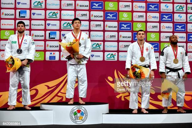 Under 100kg medallists LR Silver Cyrille Maret of France Gold Kentaro Iida of Japan Bronzes Jorge Fonseca of Portugal and Varlam Liparteliani of...