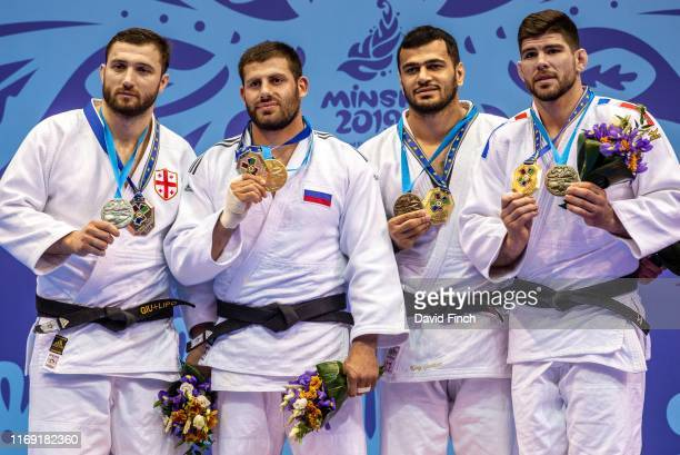 Under 100kg medallists LR Silver Varlam Liparteliani Gold Arman Adamian Bronzes Elmar Gasimov and Cyrille Maret during day 4 of the 2019 Minsk...