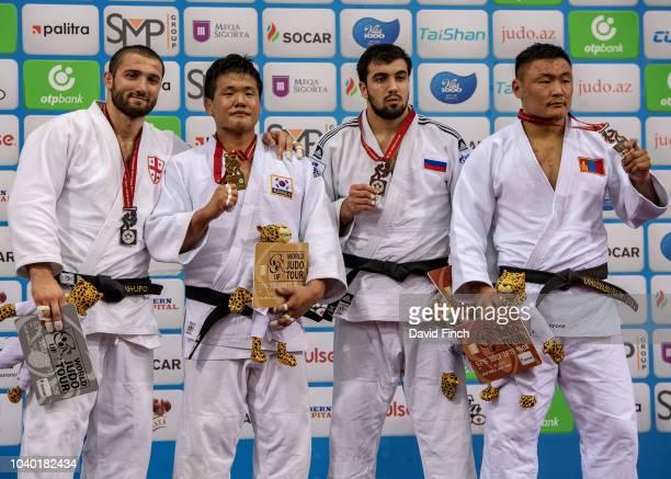 Under 100kg medallists LR Silver Varlam Liparteliani of Georgia Gold Guham Cho of South Korea Bronzes Niyaz Ilyasov of Russia and Otgonbaatar...
