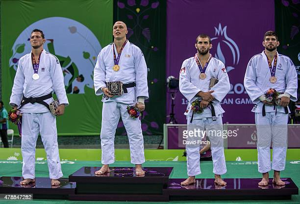 Under 100kg medallists Lukas Krpalek of the Czech Republic Henk Grol of the Netherlands Toma Nikiforov of Belgium and Cyrille Maret of France during...