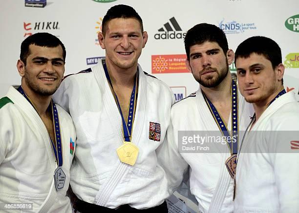 Under 100kg medallists Silver Elmar Gasimov AZE Gold Lukas Krpalek CZE Bronzes Cyrille Maret FRA and Adlan Bisultanov RUS during the Montpellier...