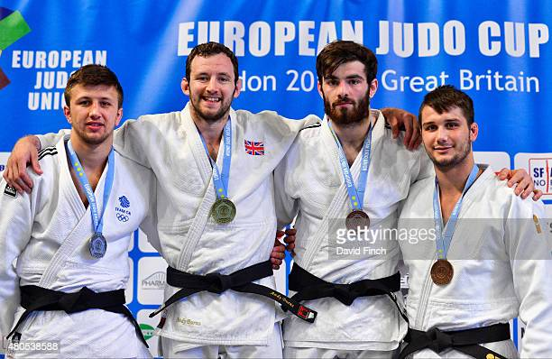 Under 100kg medallists Silver Frazer Chamberlain GBR Gold Andrew Burns GBR Bronzes Rico Harder NED and George Smith GBR during the 2015 London...