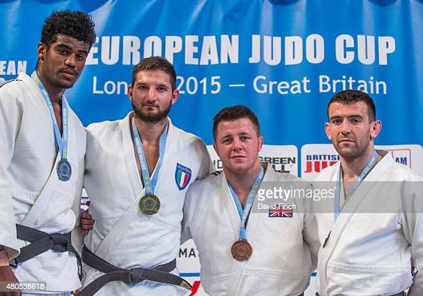 Under 100kg medallists Silver Philip AwitiAlcaraz GBR Gold Domenico Di Guida ITA Bronzes Benjamin Fletcher GBR and Adam Hall GBR during the 2015...