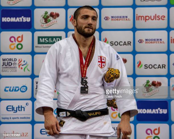 Under 100kg silver medallist Varlam Liparteliani of Georgia during day six of the 2018 Judo World Championships at the National Gymnastics Arena on...