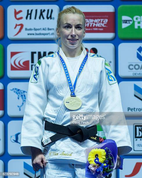 Under 48kg gold medallist, Charline Van Snick of Belgium, during the 2016 Kazan European Judo Championships at the Tatneft Sports Palace, Kazan,...