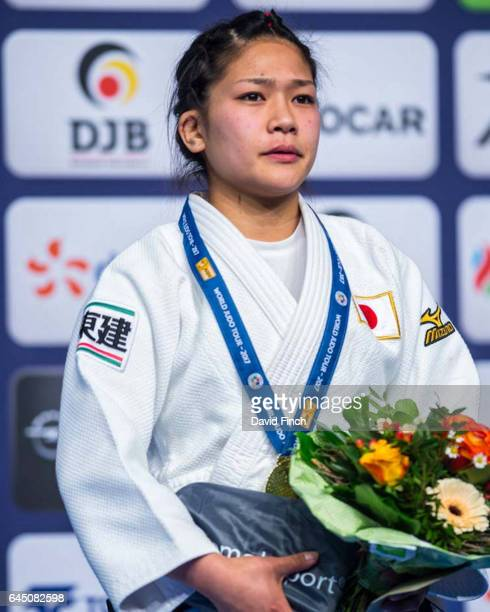 Under 48kg gold medallist Funa Tonaki of Japan during the 2017 Dusseldorf Grand Prix at the Mitsubishi Electric Halle on February 24 2017 in...